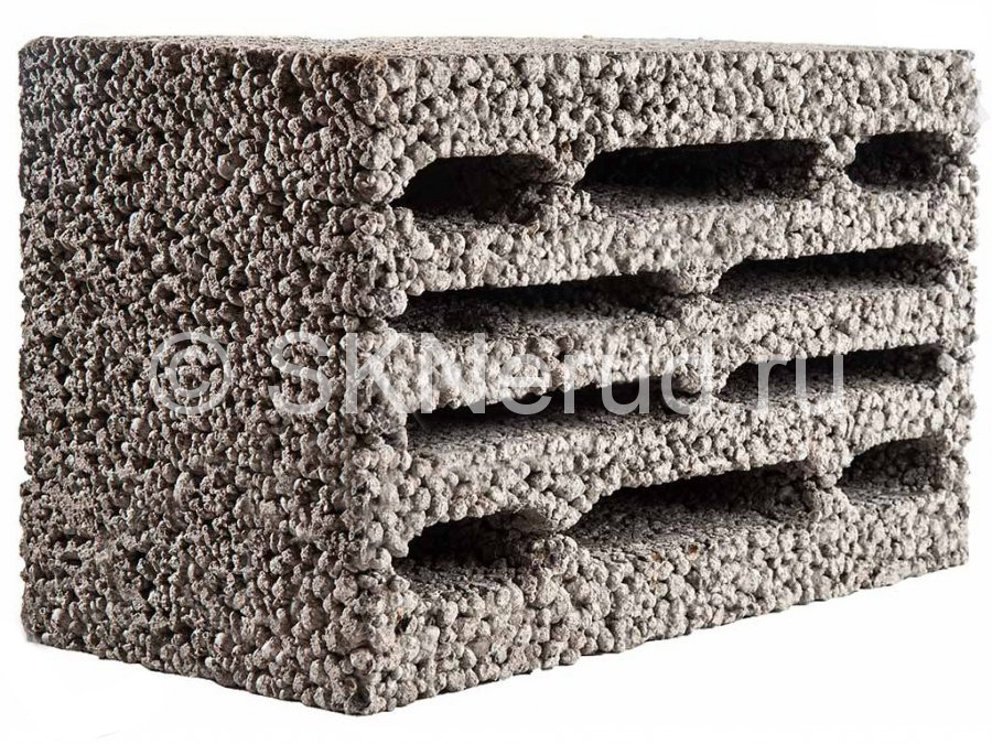 Керамзитобетонный 10-щелевой блок 390х230х190