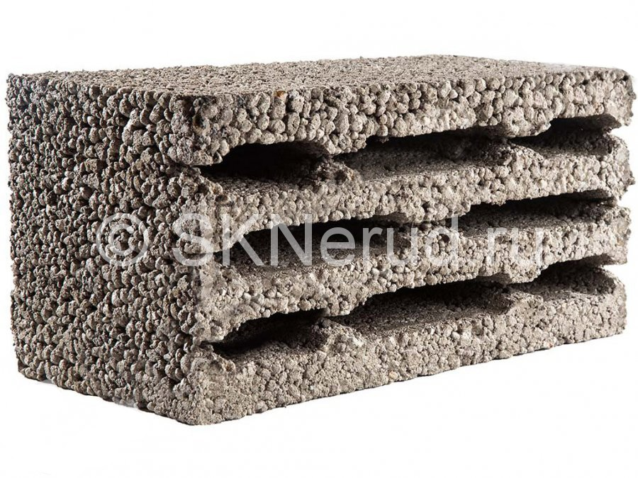 Керамзитобетонный 8-пустотный блок 390х190х190